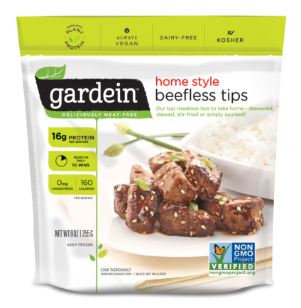 Beef vector chicken fillet. Gardein products beefless tips