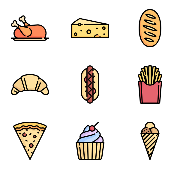 Vector vegetables flat. Meat icons free food