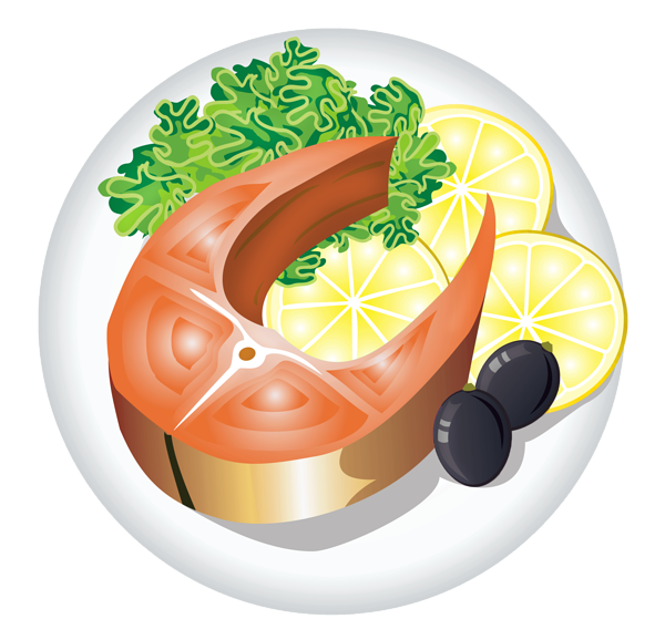 Beef vector fish food. Dish with lemon png