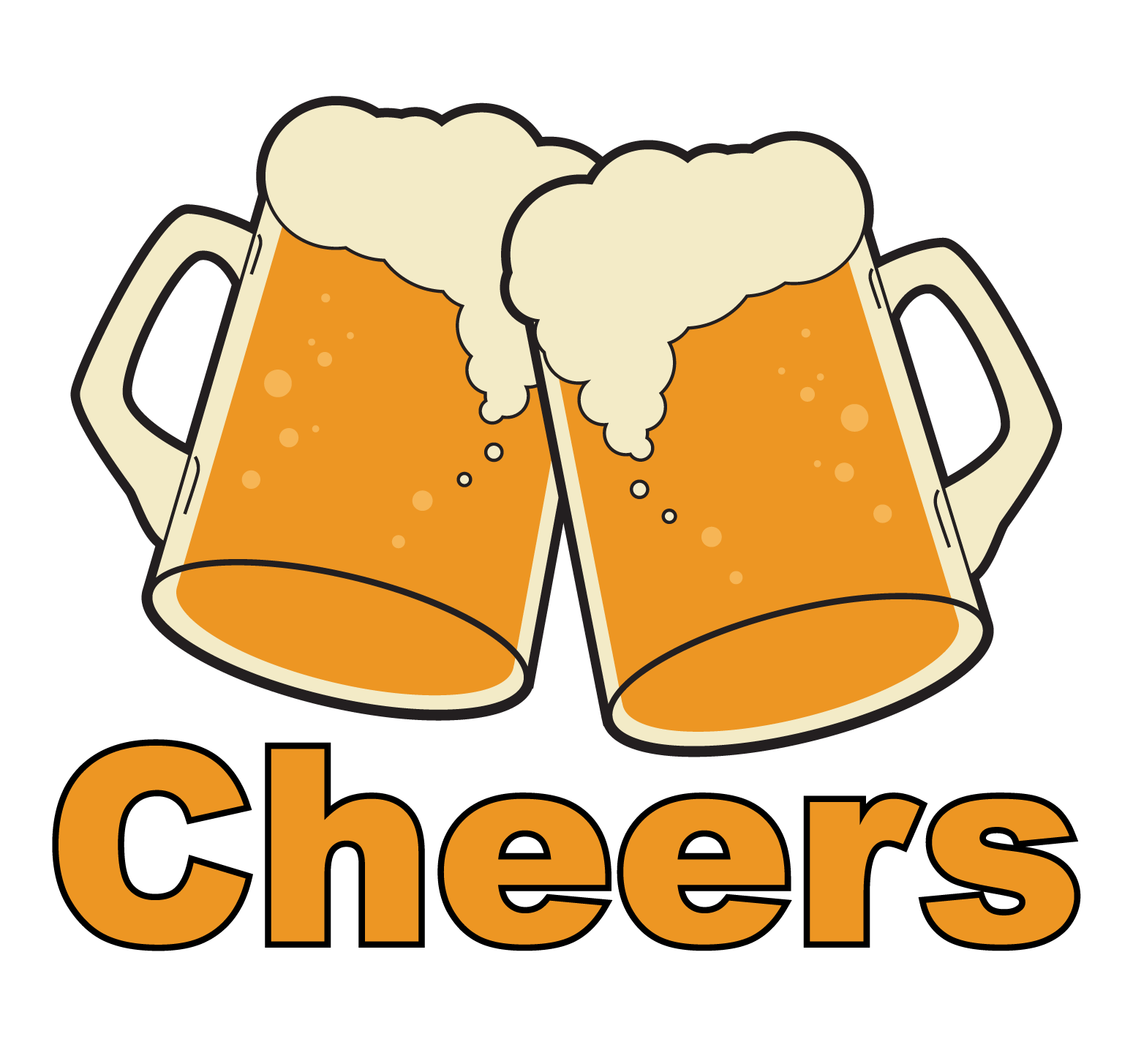 Beer clip cheer. Drawn pencil and in
