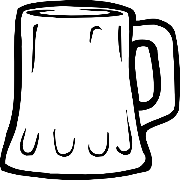 Beer mug silhouette png. Black and white clip