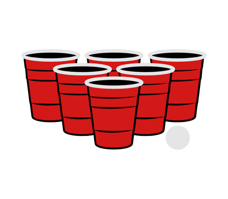 Beer pong png. Color vector label by