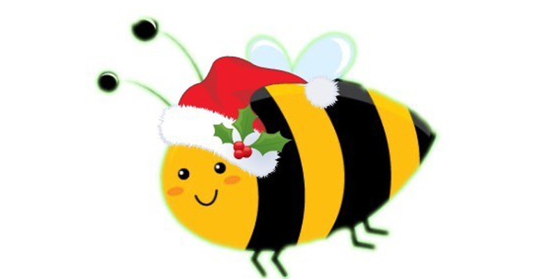 Bees transparent beehive. Merry christmas from the
