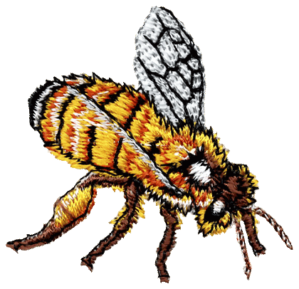 Bees transparent side view. Atlas screen printing and