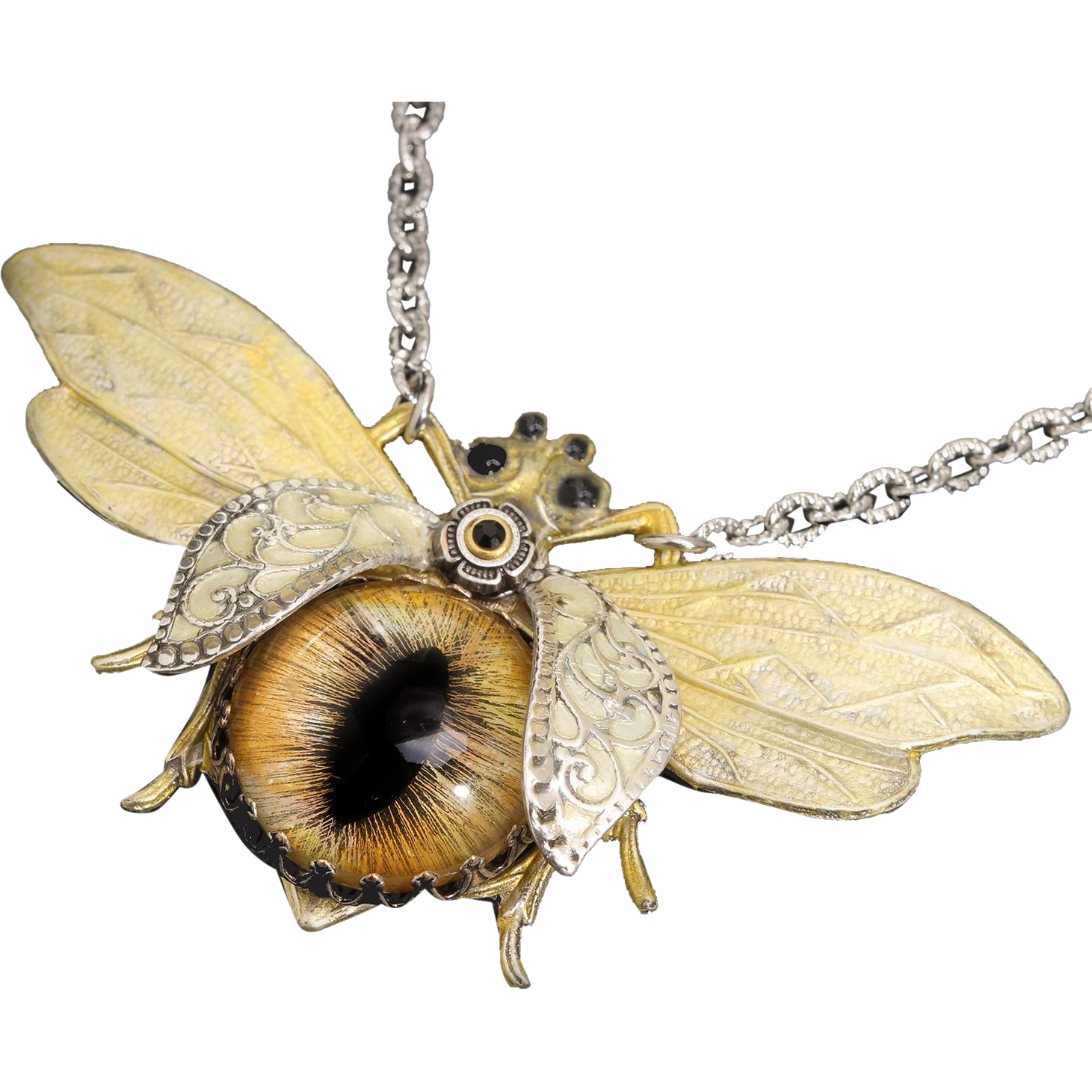 Bees transparent vintage. Bee necklace insect jewelry