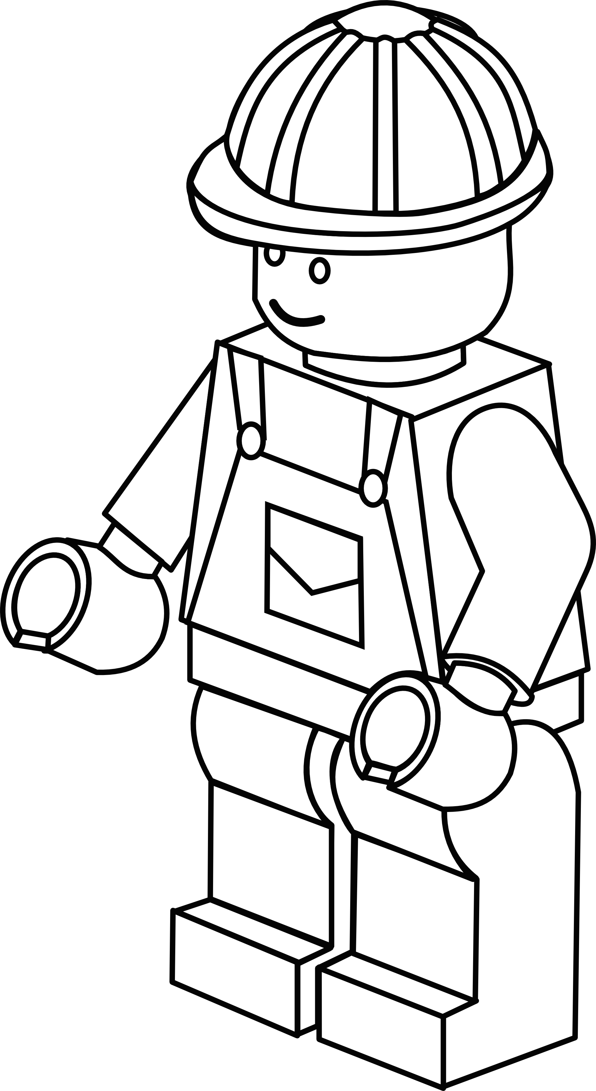 Drawing door colouring page. More complex lego figure