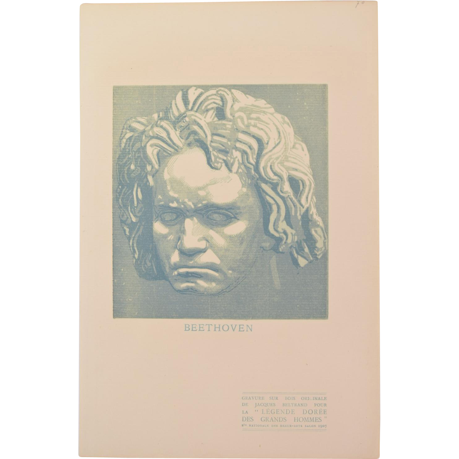 Beethoven drawing engraving. Jacques beltrand wood gazette