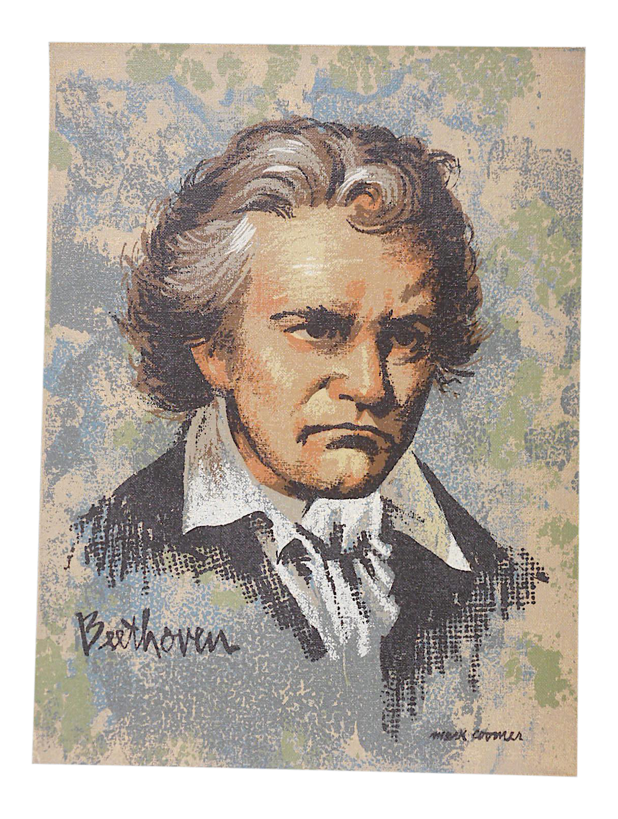 Beethoven drawing lithograph. Vintage ltd ed serigraph