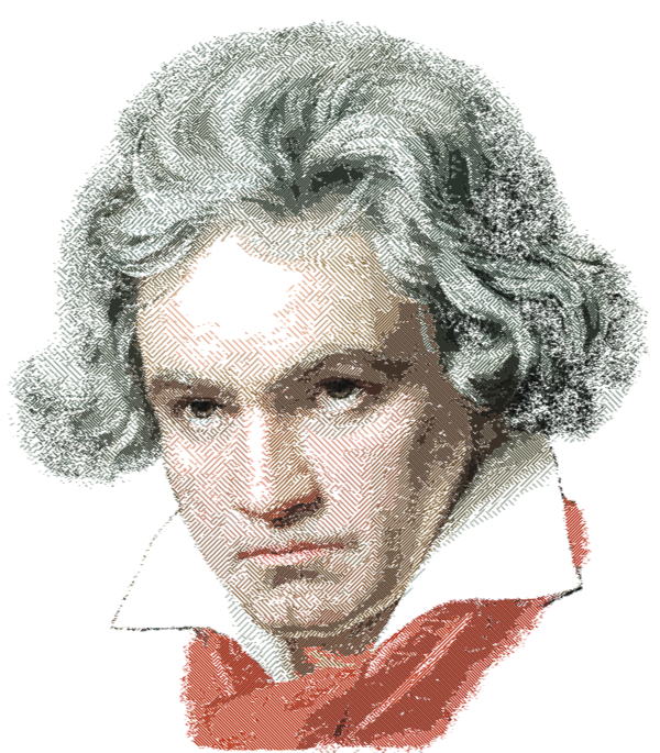 Ludwig van parallel hatching. Beethoven drawing abstract clipart