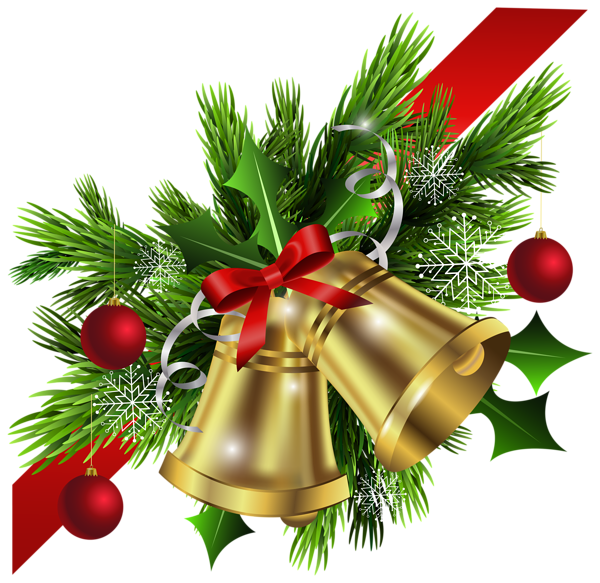 Christmas garland border transparent png. Red bow and bells