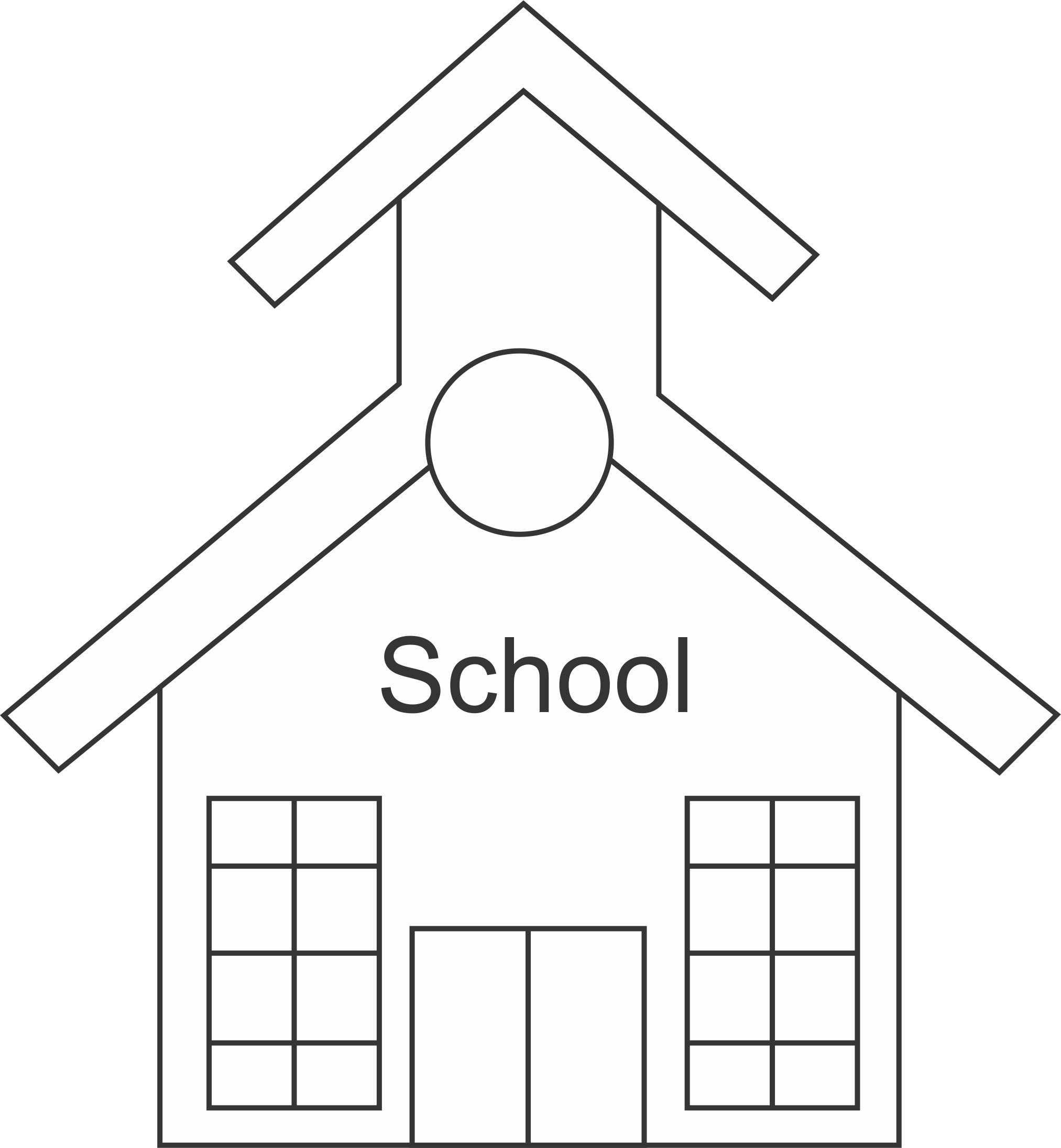 Bell clipart schoolhouse. Free school house outline
