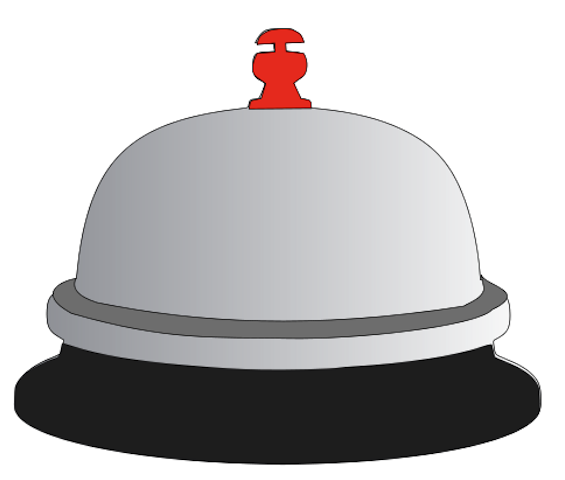 Bell clipart table. Front desk pencil and