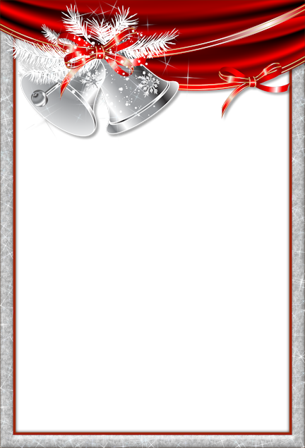Bell frame png. Christmas transparent with silver