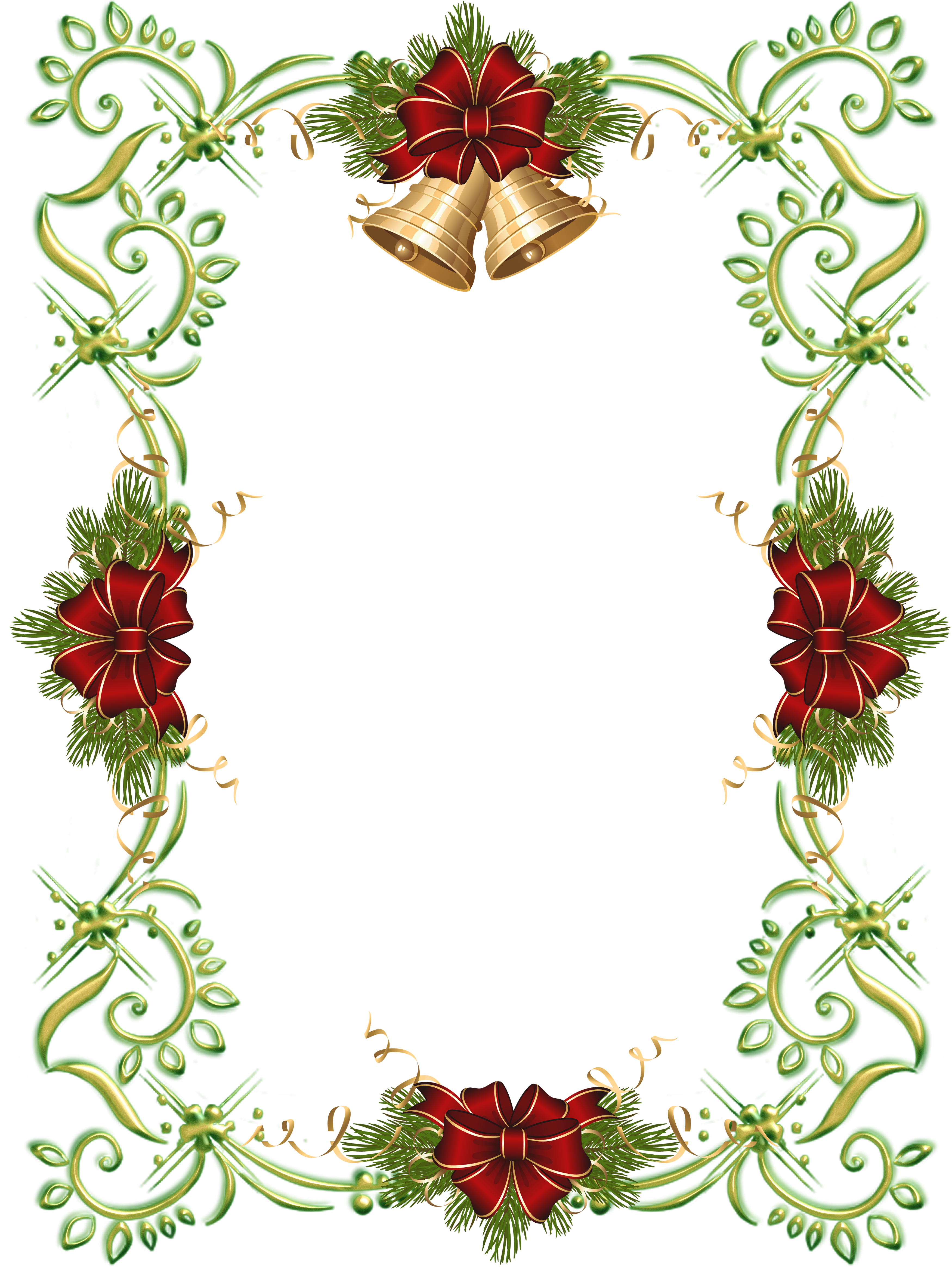 Bell frame png. Christmas gold photo with