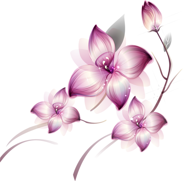 Pink and blue flowers png. Res purple by hanabell