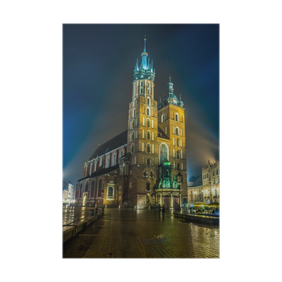 Bell tower at night png. Poland krakow market square