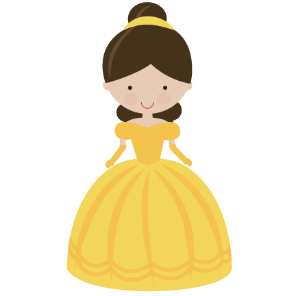 Belle vector silhouette yellow. Fairytale princess in svg