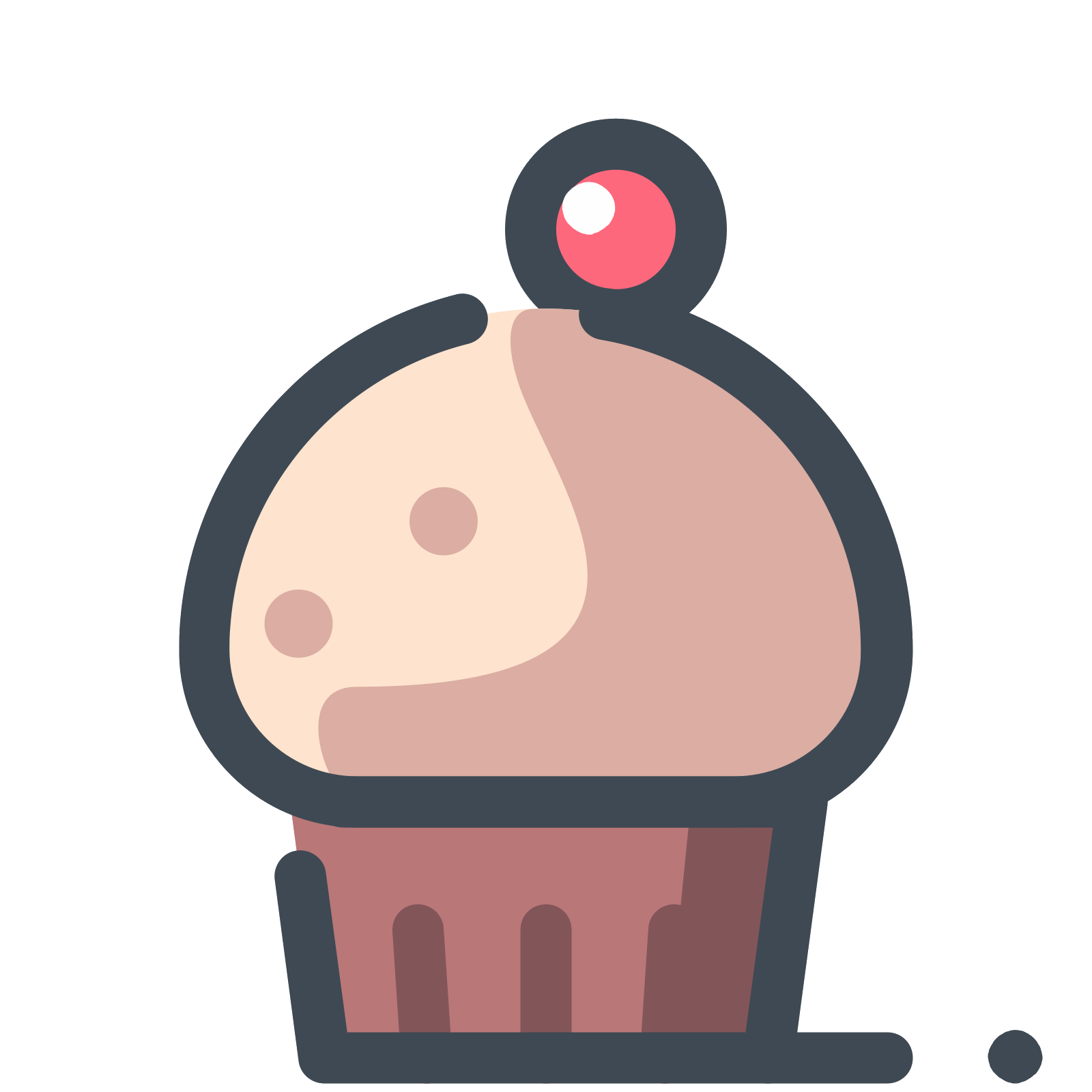 Berry vector doodle. Cupcake with a icon
