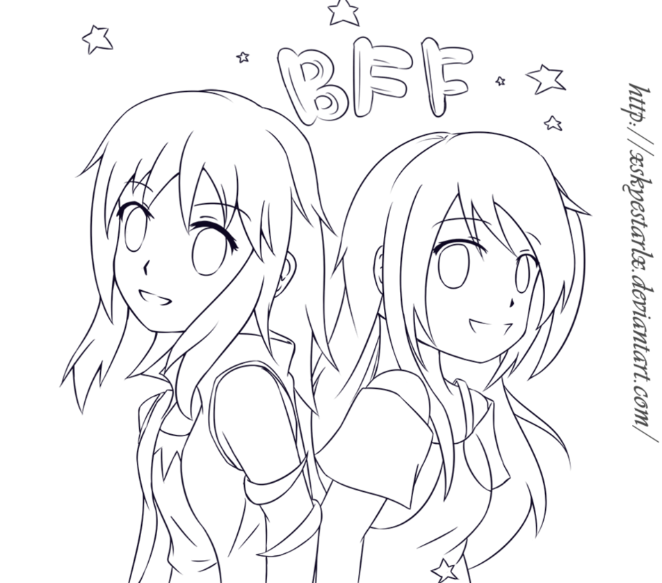 Bestfriend drawing anime. Collection of bff
