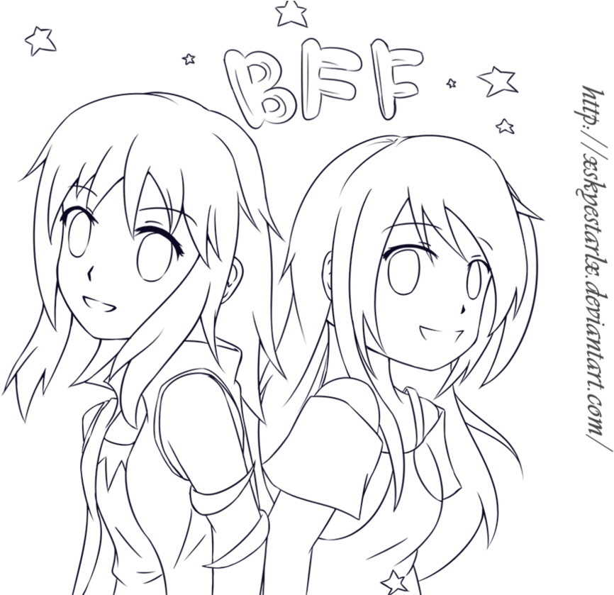 Drawing the bff. Download anime colouring pages