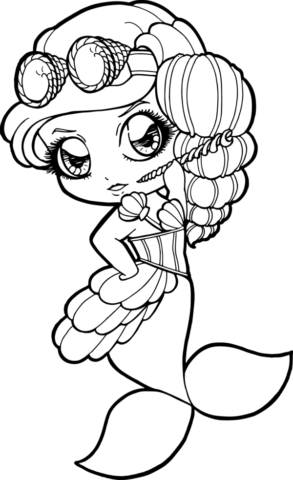 Bestfriend drawing coloring page. Steampunk mermaid chibi by