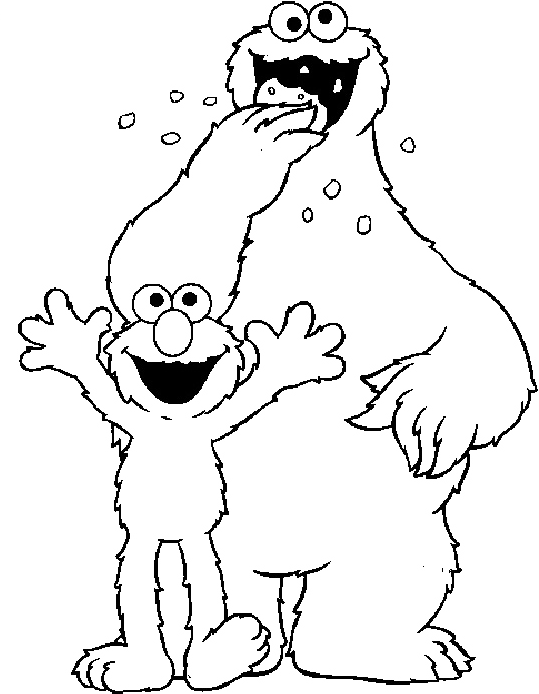 J drawing coloring page. Cookie monster and elmo