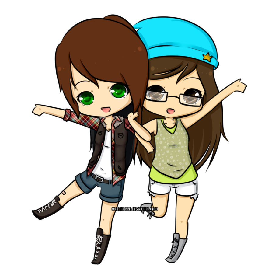 Chibis drawing bff. Two best friends clipart
