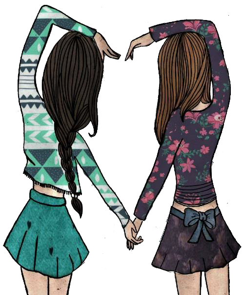 Drawing friendship best friends together. Vintage doll png by