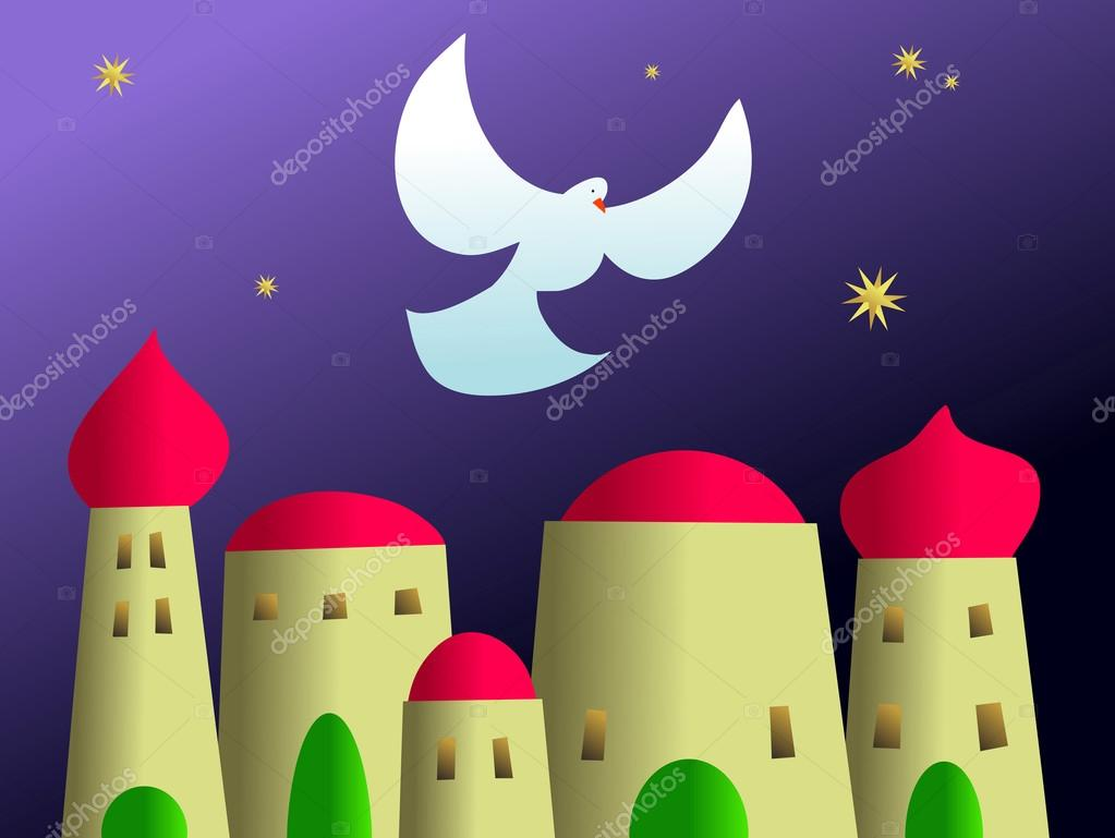 Bethlehem clipart ancient city. Dove of peace hovering