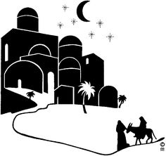 Bethlehem clipart biblical city. Silhouette of town o