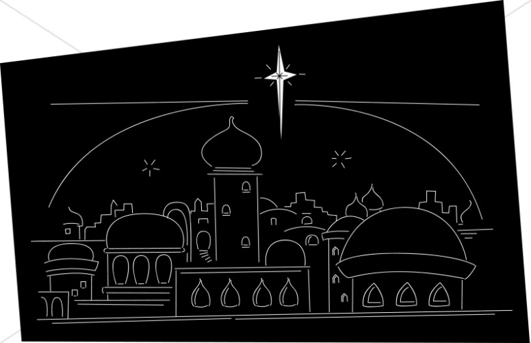 Star ove rthe town. Bethlehem clipart biblical city clip library download