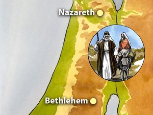 Mary and joseph travel. Bethlehem clipart biblical city picture black and white library