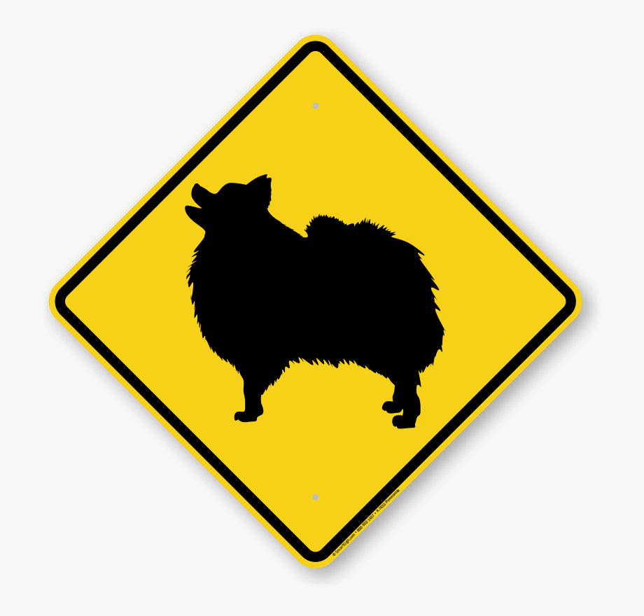 Beware of the dog. Pomeranian symbol guard sign
