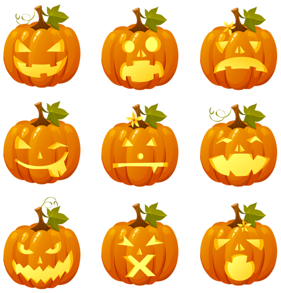 Pumpkins vector pumkin. Halloween pumpkin smiles collection