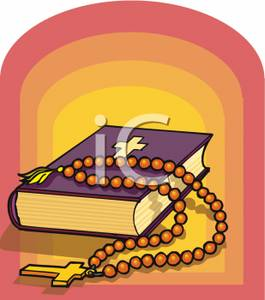 Rosary clipart soup. A bible and beads