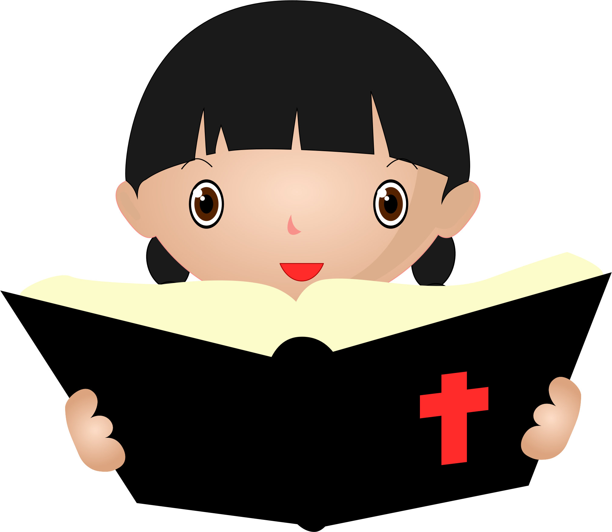 Bible .png. Girl studying icons png