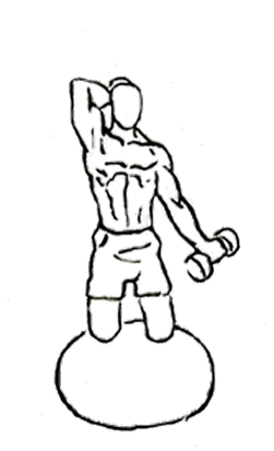 Curls drawing professional. Biceps curl with overhead