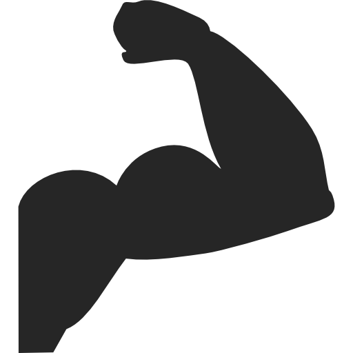 Biceps drawing hand. Muscle clip black
