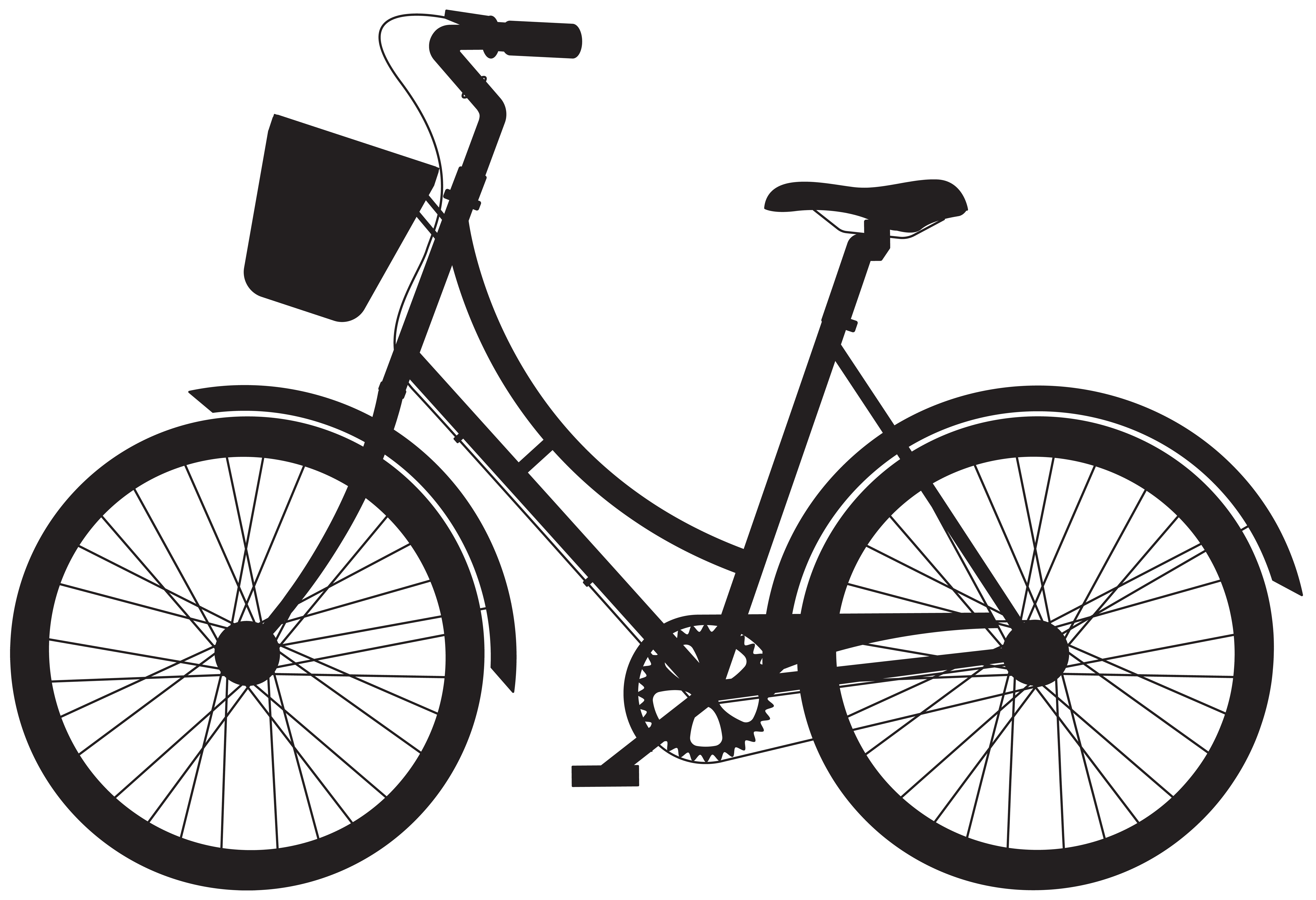 Bicycle with basket silhouette. Cycle clipart antique bike vector transparent library