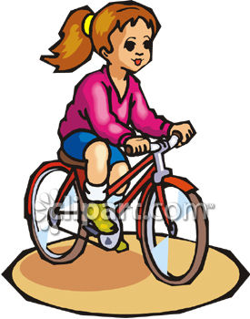 Riding clipart. Young girl a bicycle banner free download