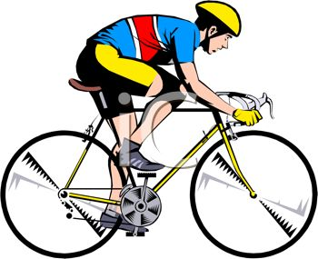 Clip Art Image of a Man Riding a Yellow Bicycle - Royalty Free ...