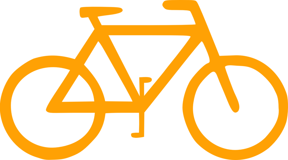 Orange bicycle. Public domain clip art