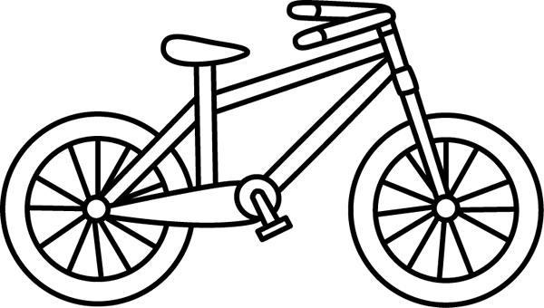 White bicycle. Black and bike clip