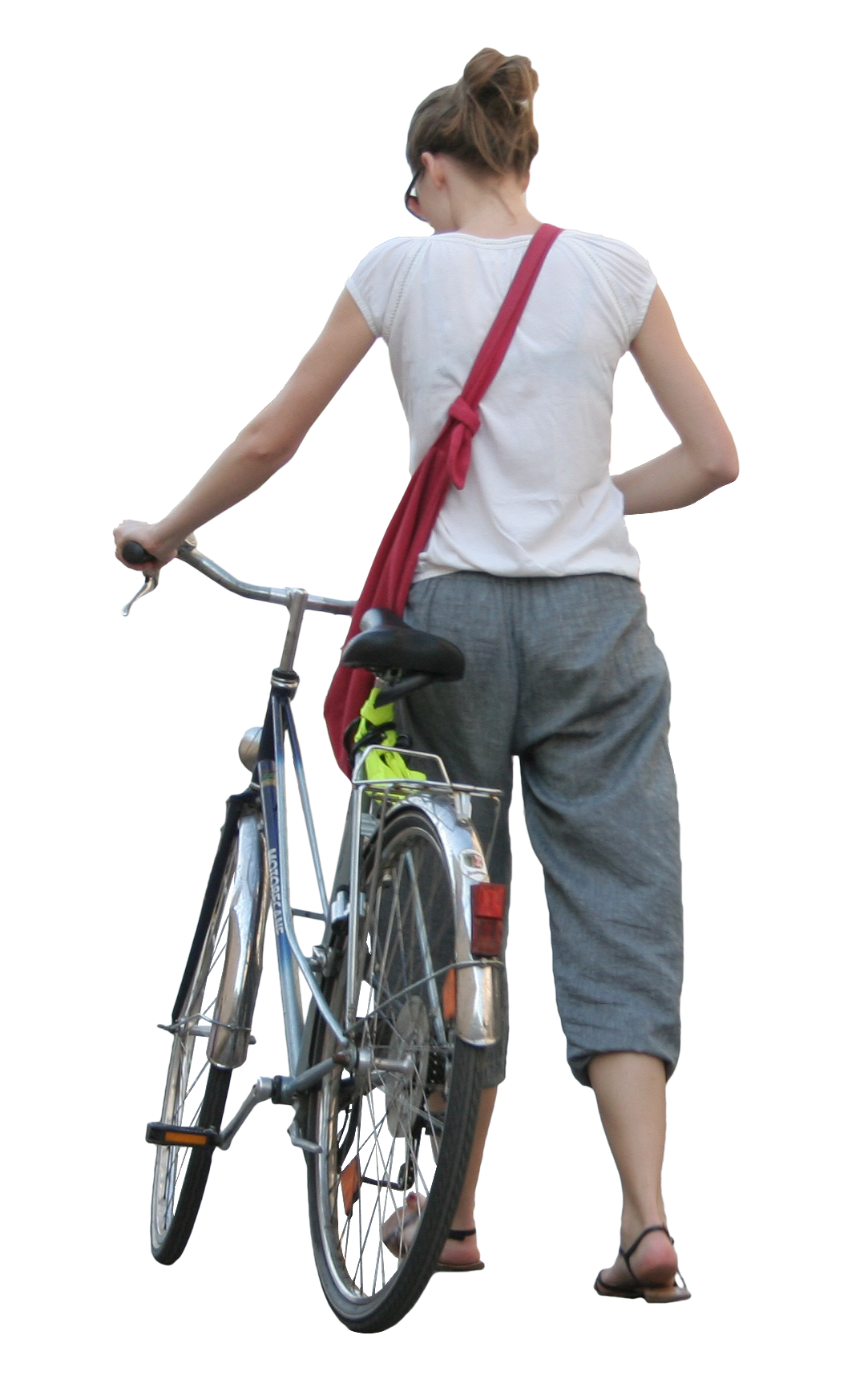 People bike png. Woman with bicycle free