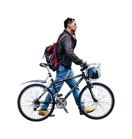 People bike png. Man walking with architecture