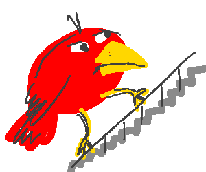 Big bird face png. Climbing up the stairs