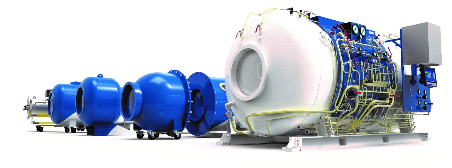 Big diving chamber. Different types of hyperbaric