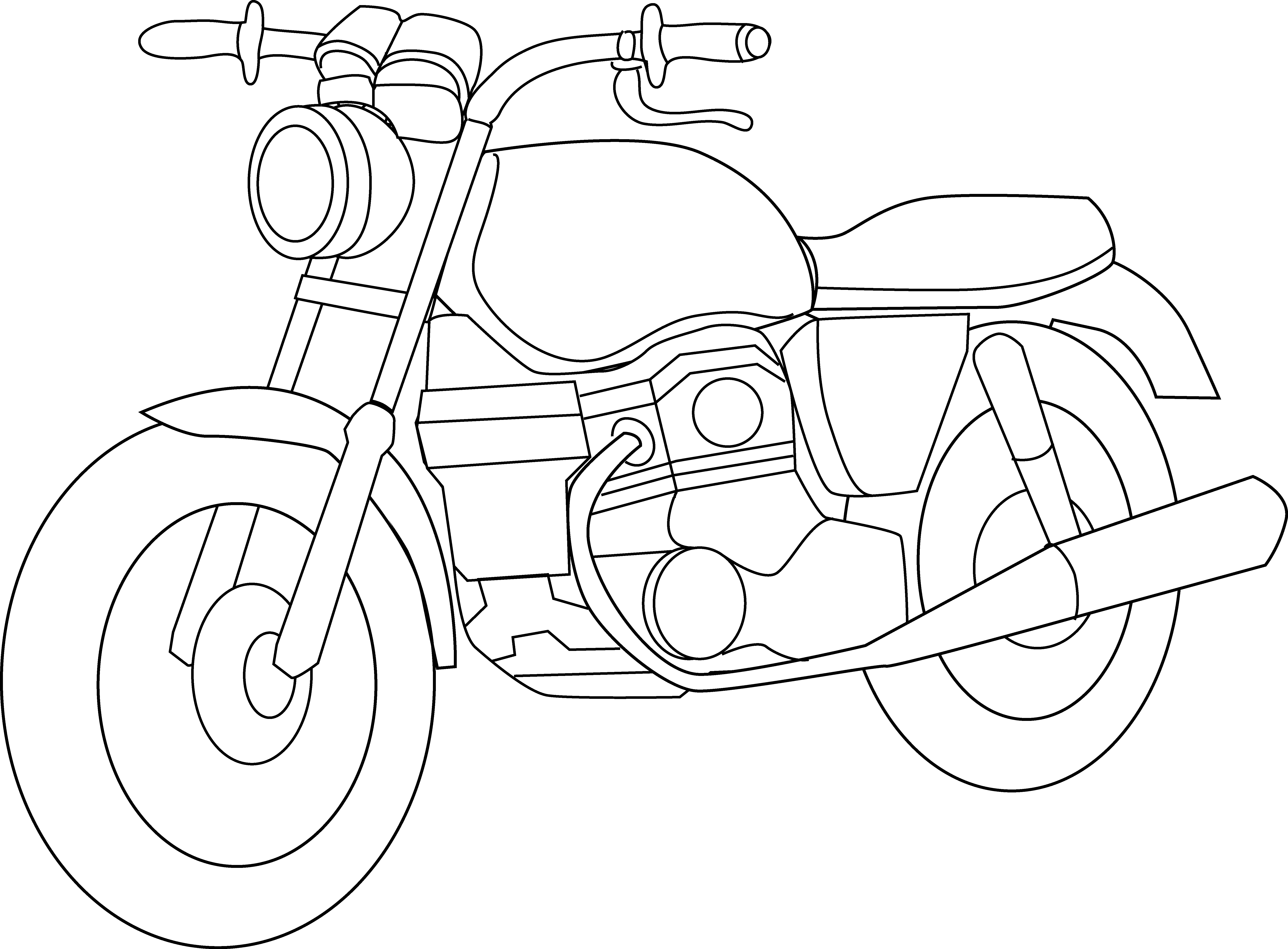 White motorcycle. Clipart black and panda