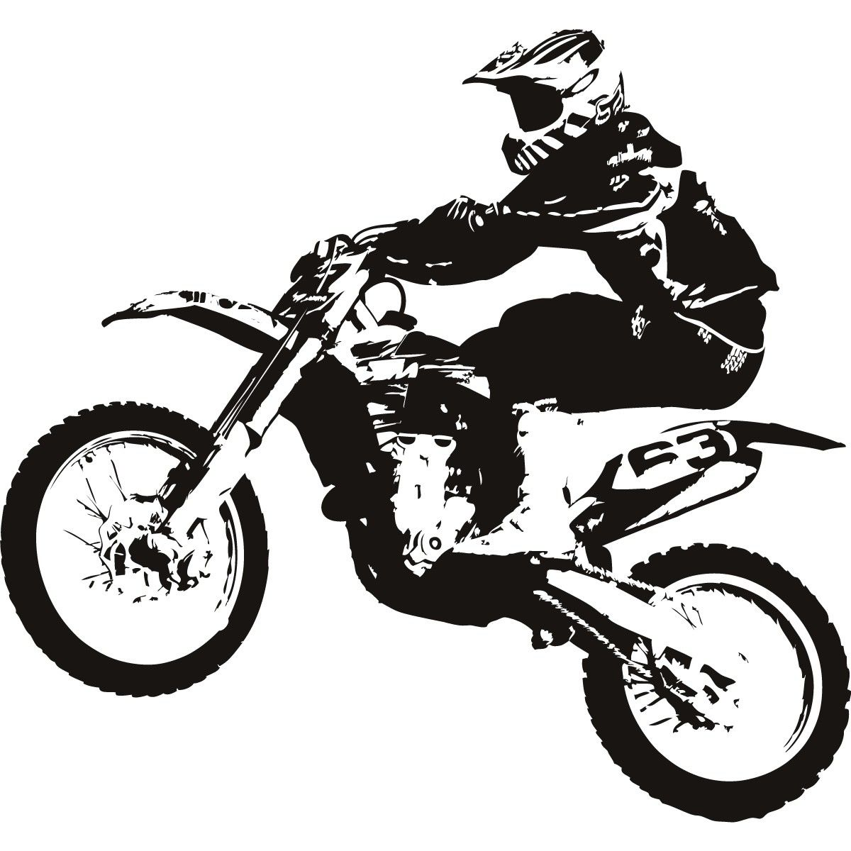Free download for your. Bike clipart motocross bike jpg black and white download