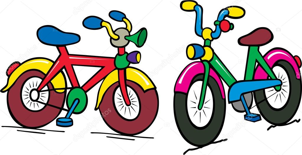 Bike clipart toddler bike. Multicolor funny cartoon of